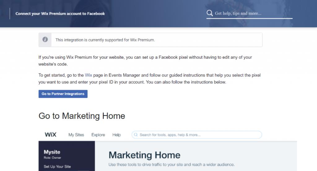 Facebook pixel and wix integration