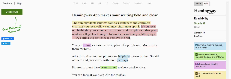 Hemingway: Tool for freelancers
