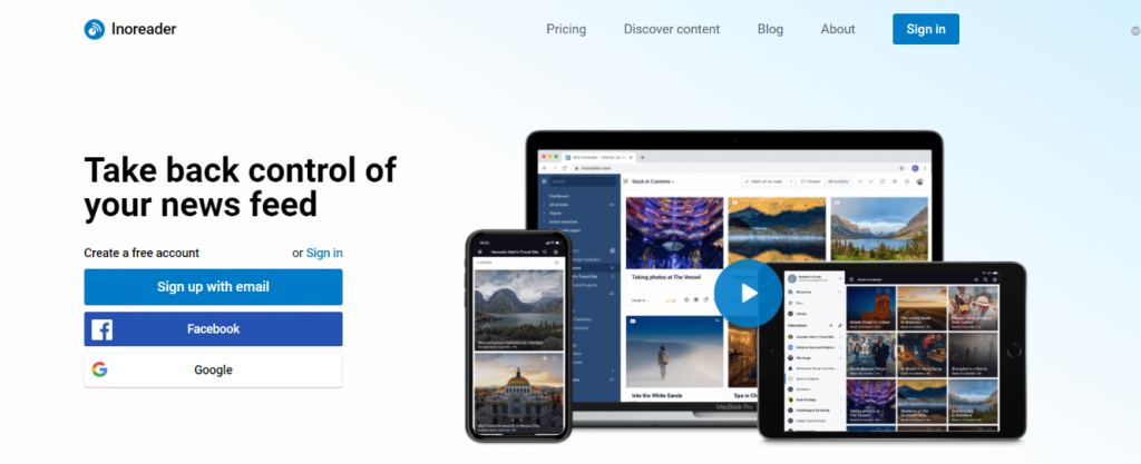 Inoreader: News aggregator website