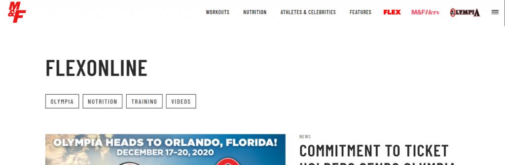 Flex online: Bodybuilding blog and website