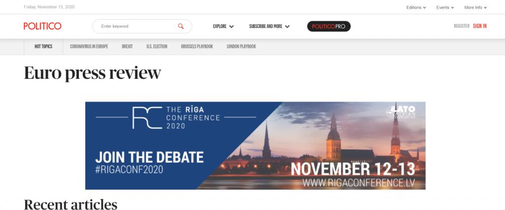 Politico Europe Press Review: Political blog and website