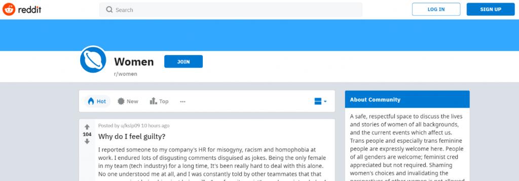 Reddit for women: Women blog and website