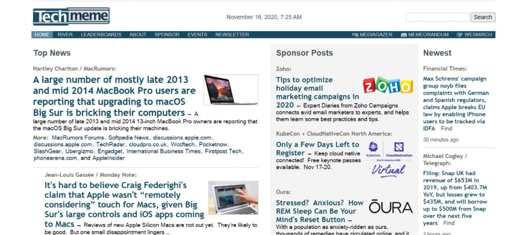 Techmeme: News aggregator website