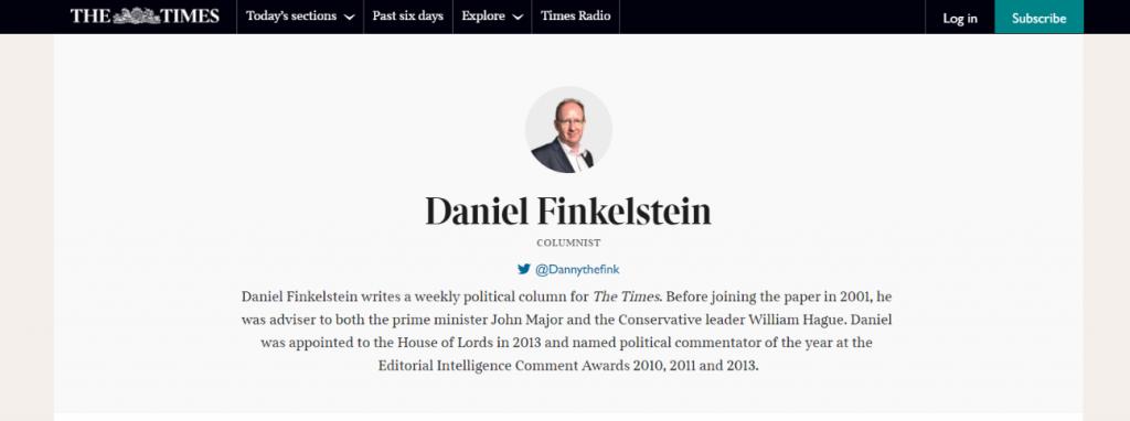 Daniel Finkelstein: Political blog and website