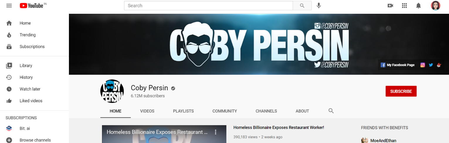 Coby persin: Prank youtube channel