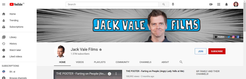 Jack vale films: Prank youtube channel