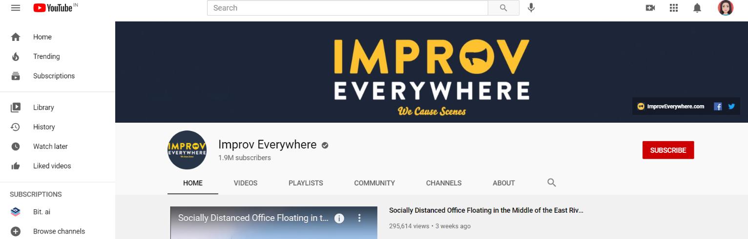 Improv everywhere: Prank youtube channel
