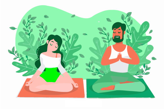 A couple doing meditation for spiritual achievement