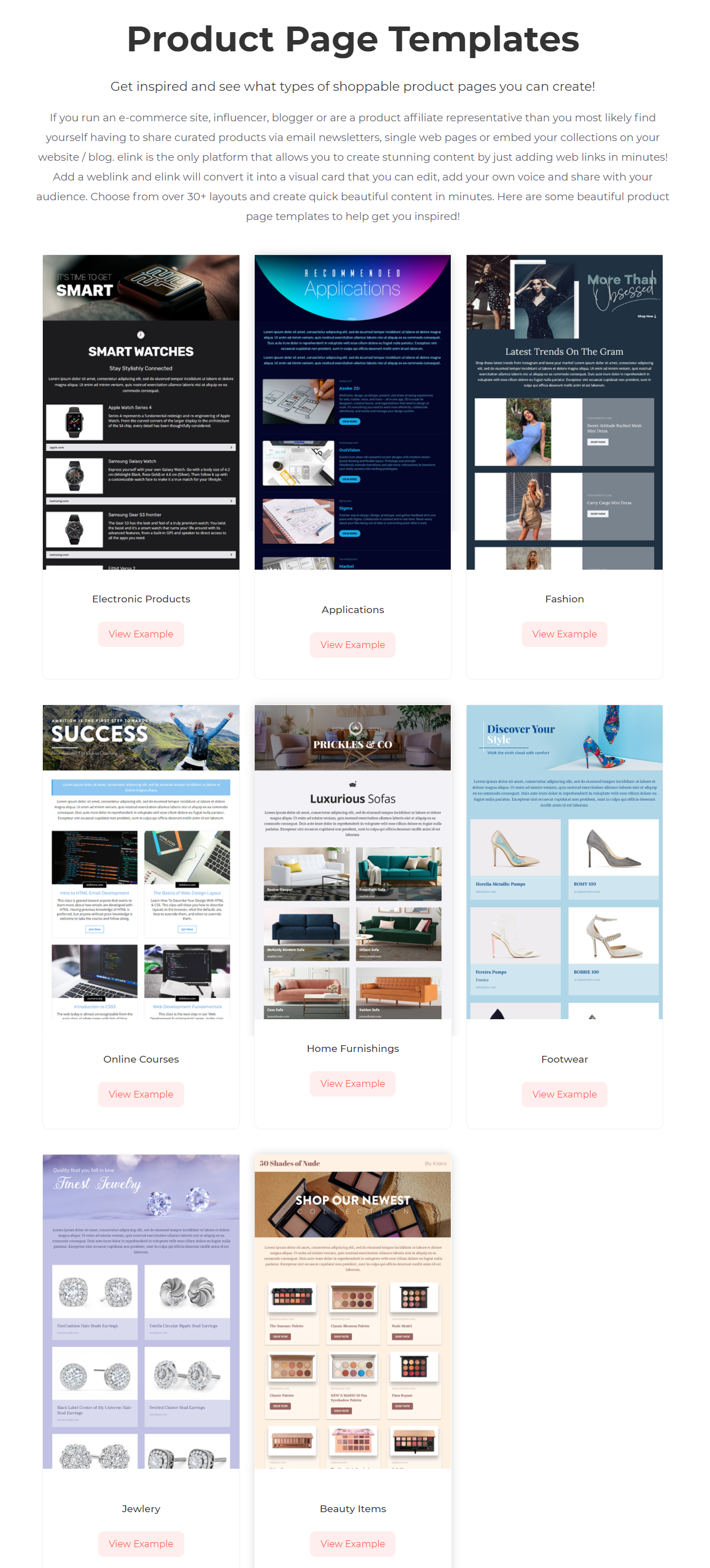 Product page templates screenshot