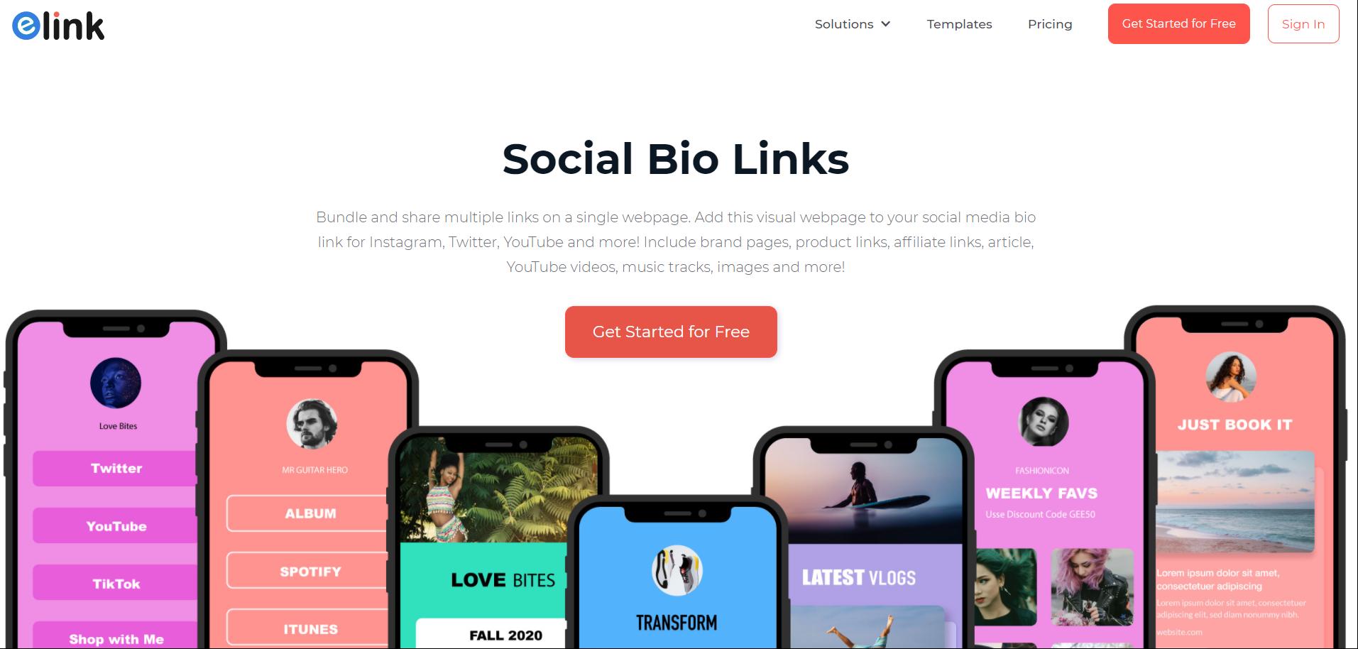 elink.io: Social bio link tool