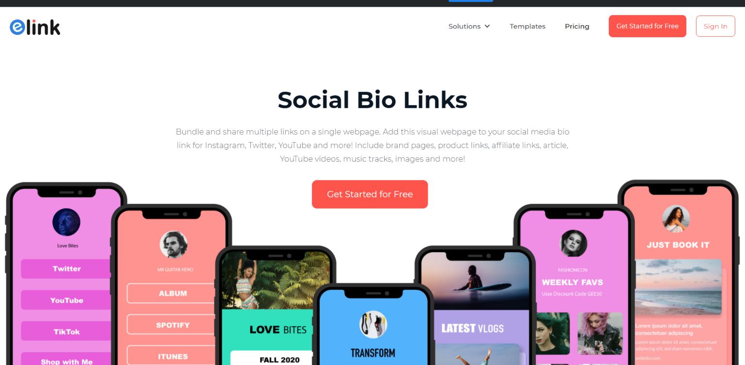 elink.io: social bio link creator
