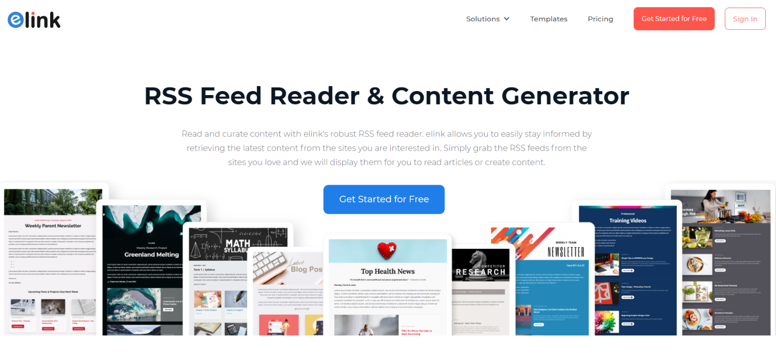Elink.io: Rss Reader and Content Generator