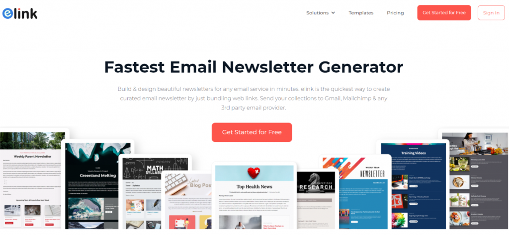 Elink.io: Tool for creating email newsletters