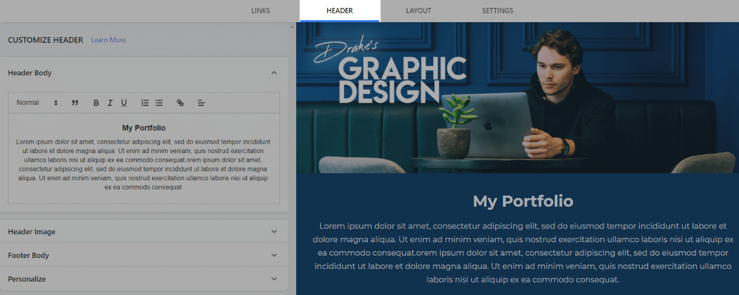 Preview of adding header to the template