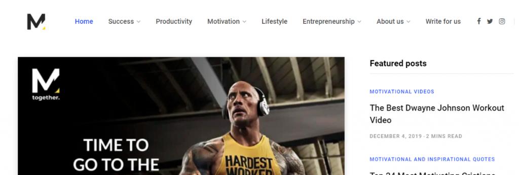 Motivation grid: Inspirational blog and website