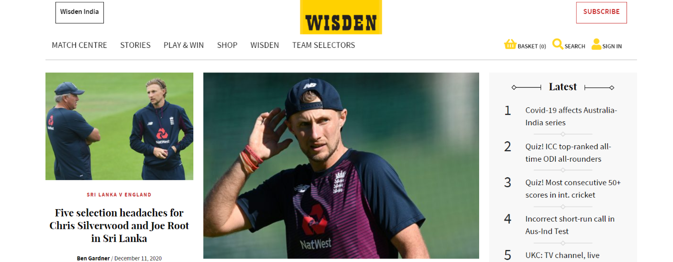 Wisden: Cricket blog and Website