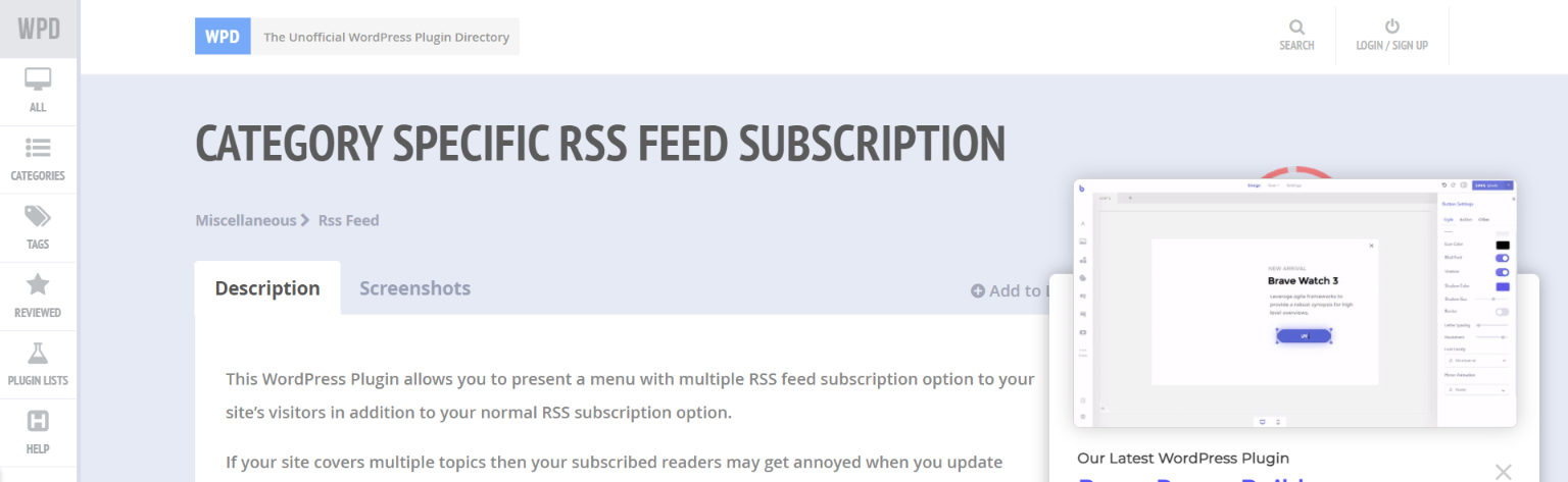 Category specific rss feed subscription: Rss feed widget