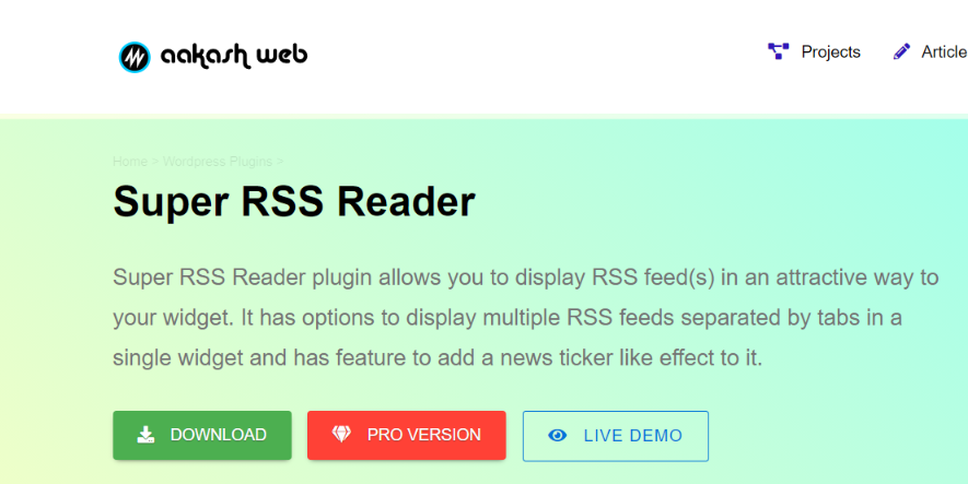 Super Rss Reader: Rss feed widget