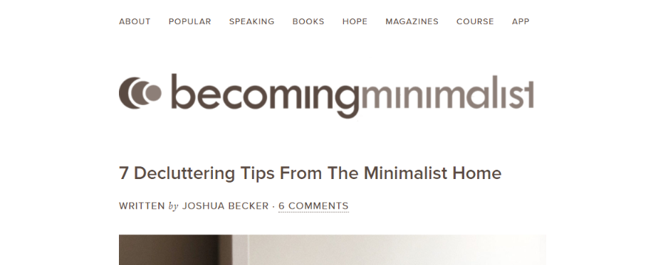 Becoming minimalist: Inspirational blog and website