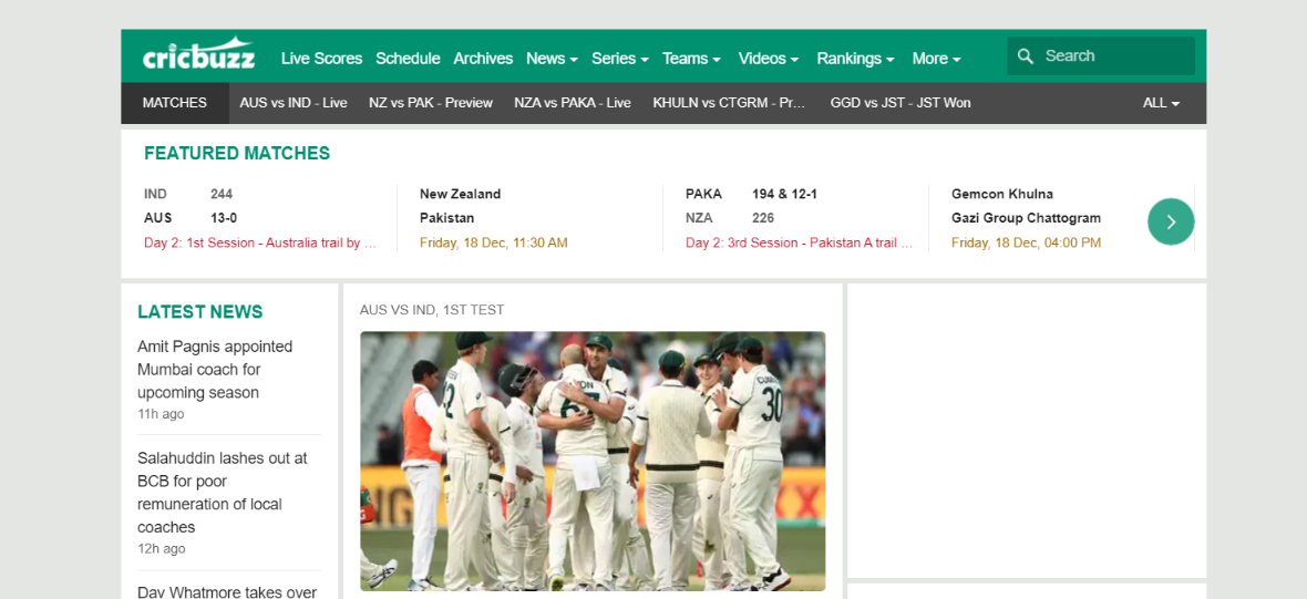 Cricbuzz: Cricket blog and Website