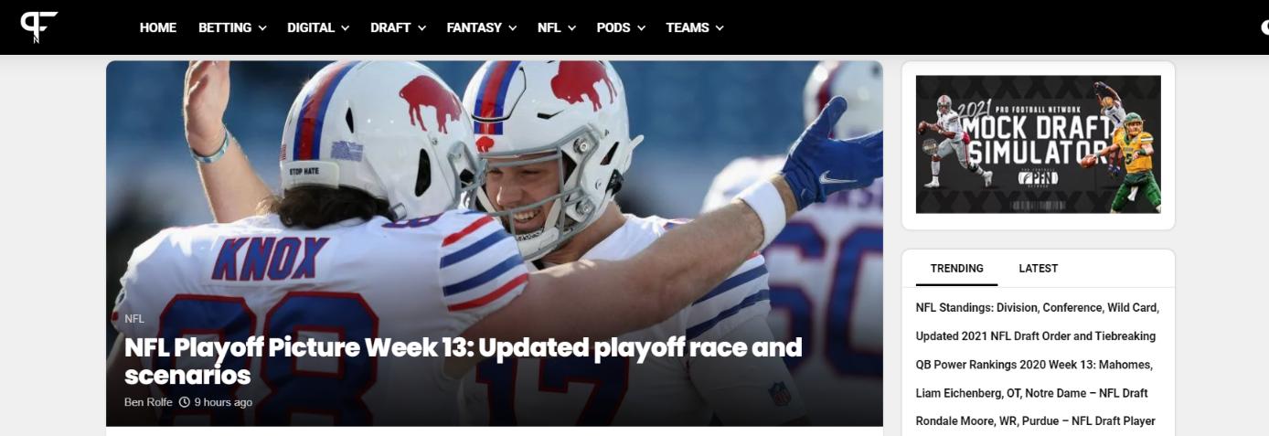 Pro football network: NFL blog, website or influencer