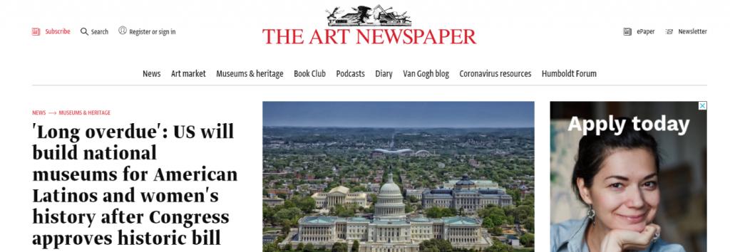 The art newspaper: Art magazine and publication