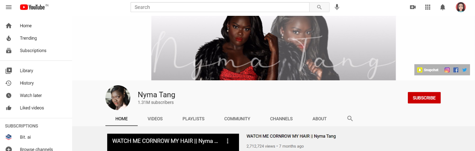 Nyma tang: Makeup youtube channel