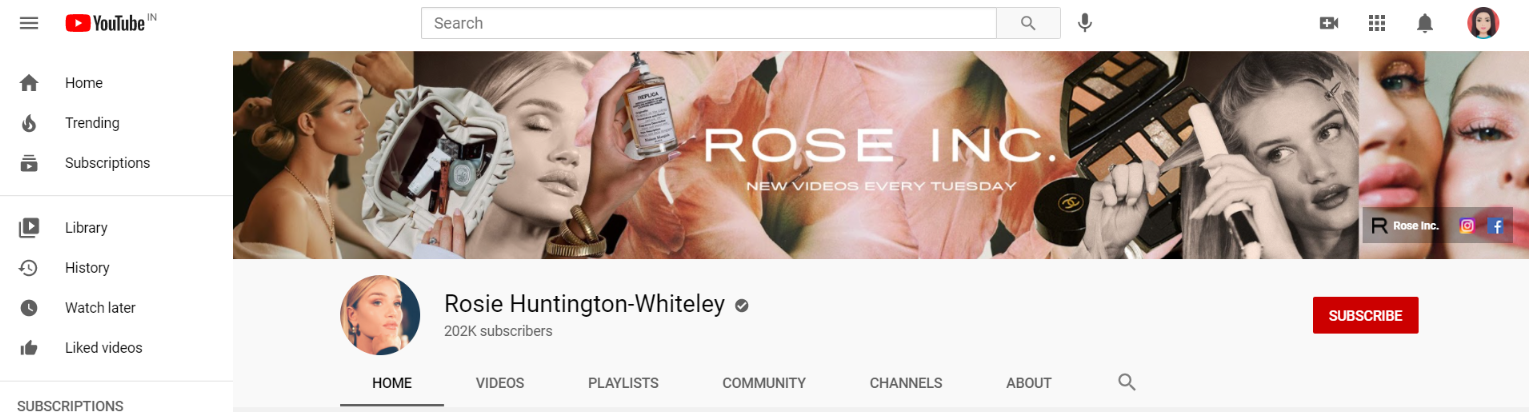 Rosie hunington: Makeup youtube channel