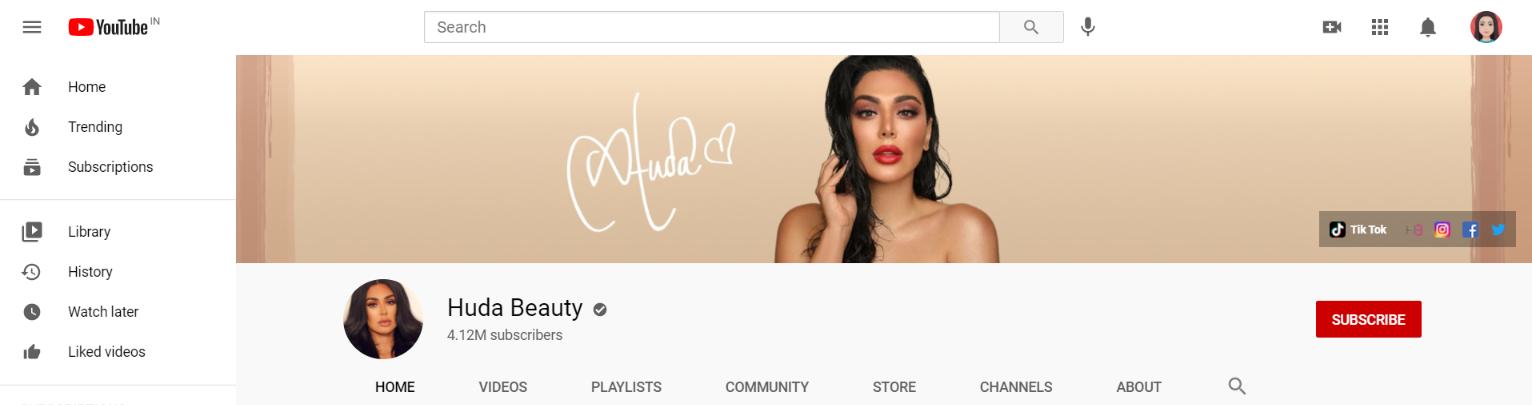 Huda beauty: Makeup youtube channel