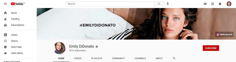 Emily didonato: Makeup youtube channel