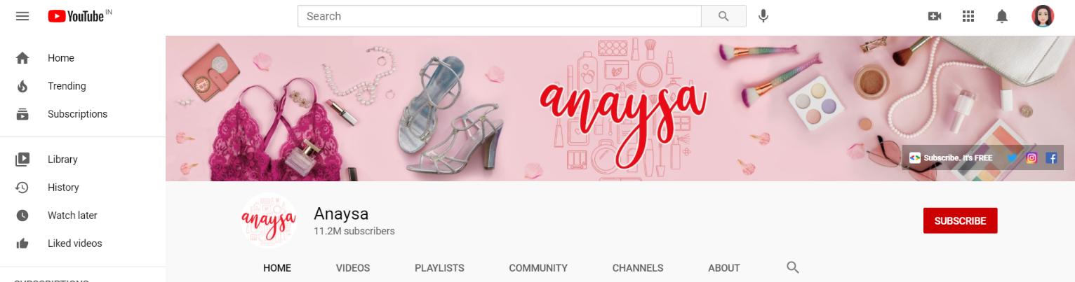 Anaysa: Makeup youtube channel