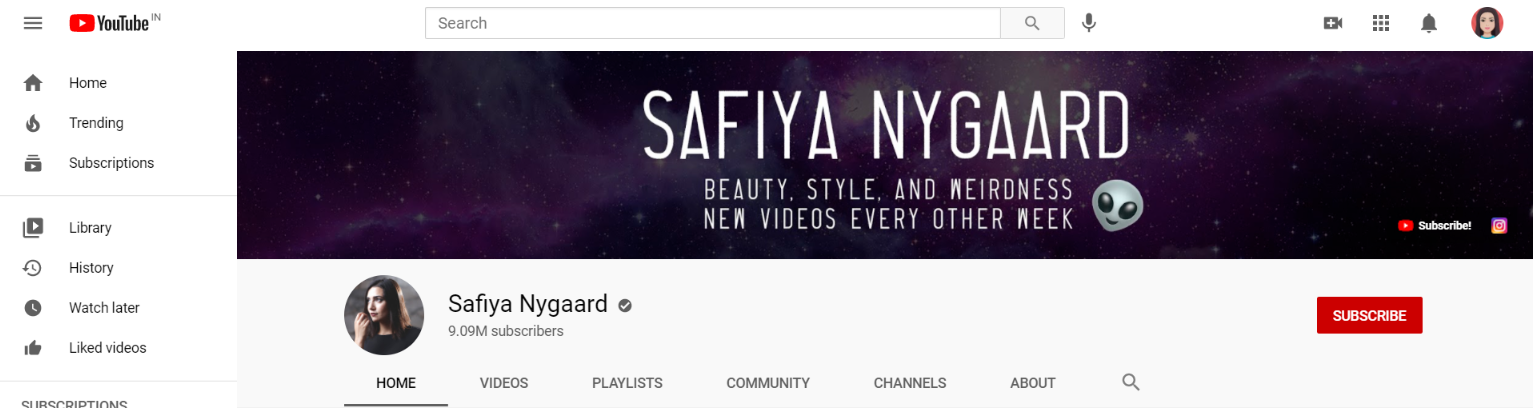 Safiya nygaad: Makeup youtube channel