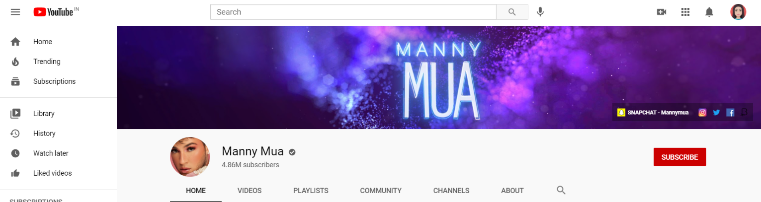 Manny mua: Makeup youtube channel