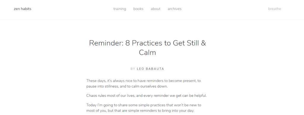 Zen habits: Inspirational blog and website