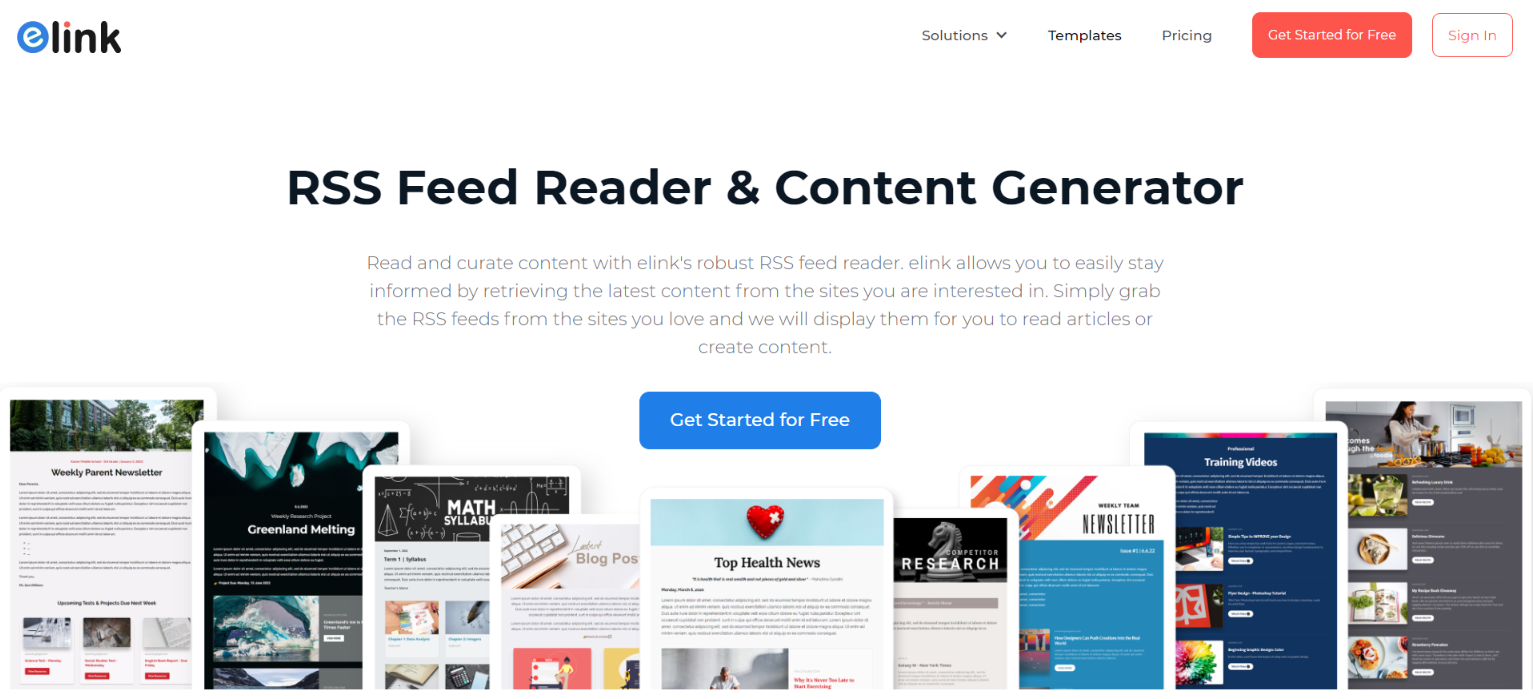 Elink.io: Rss feed reader and aggregator