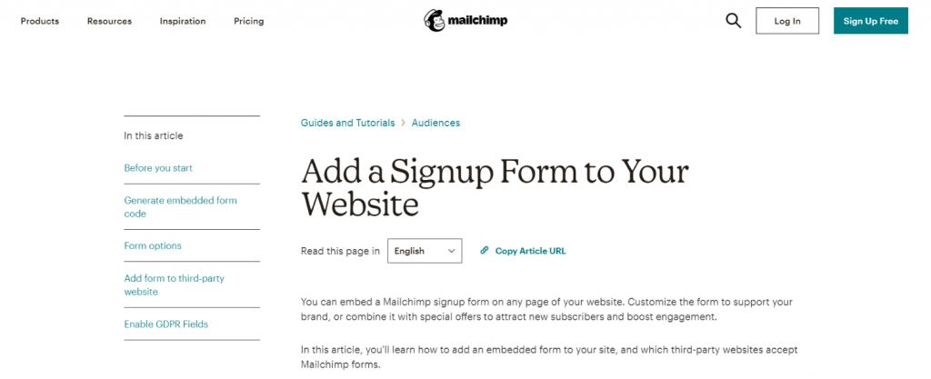 Mailchimp signup widget
