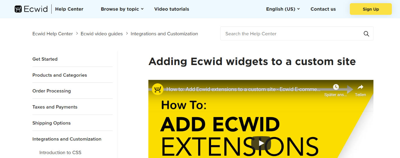 Ecwid widget suite: Website widget