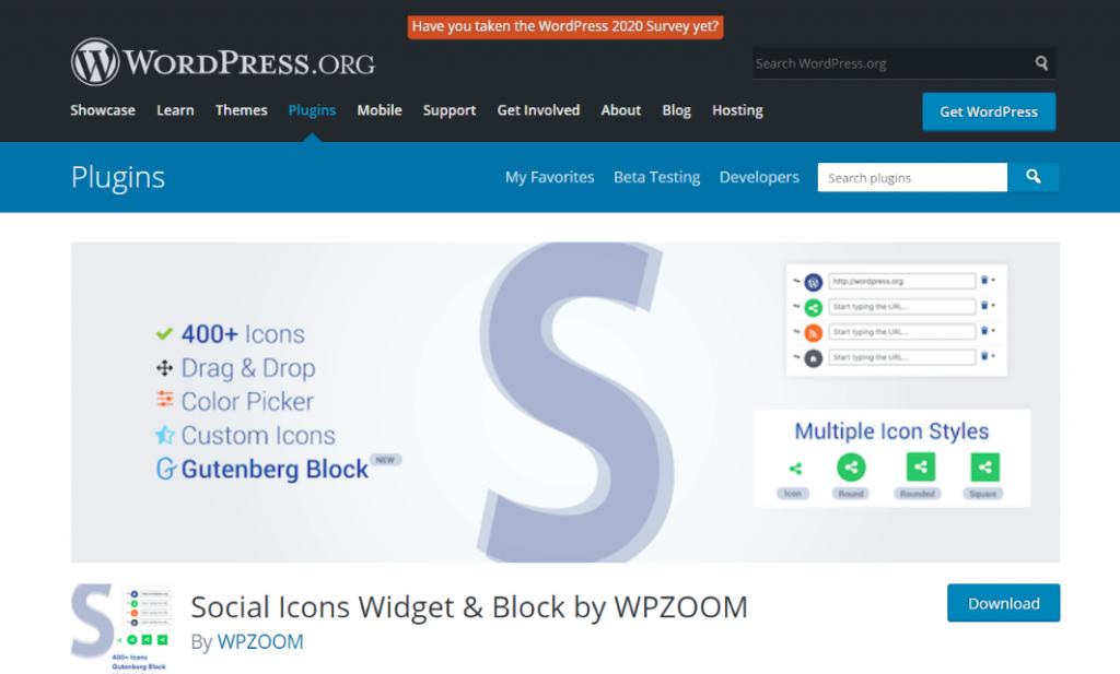Social Icons: Website widget