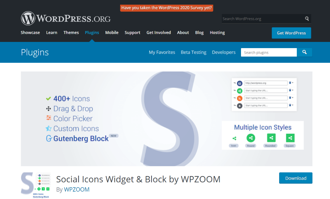 Social Icons: Website widget