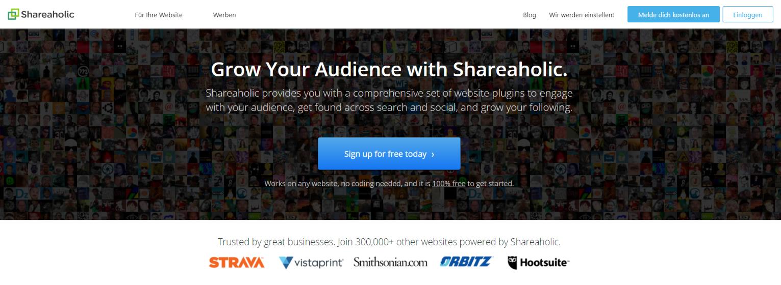 Shareaholic: Social sharing tool