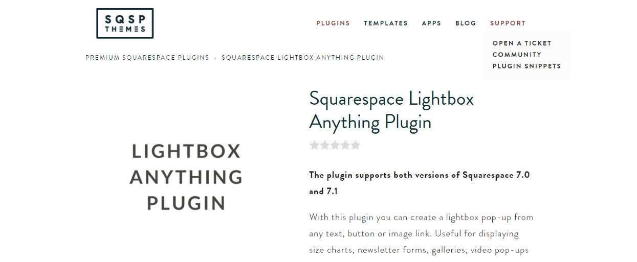 Lightbox anything plugin: Squarespace plugin