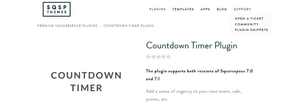 Countdown timer plugin: Squarespace plugin