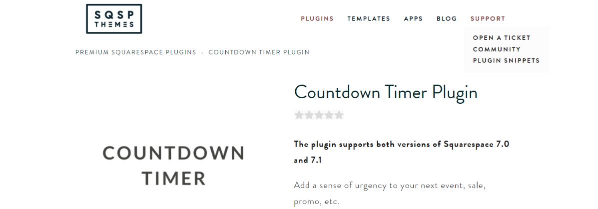 Countdown timer plugin: Squarespace plugin