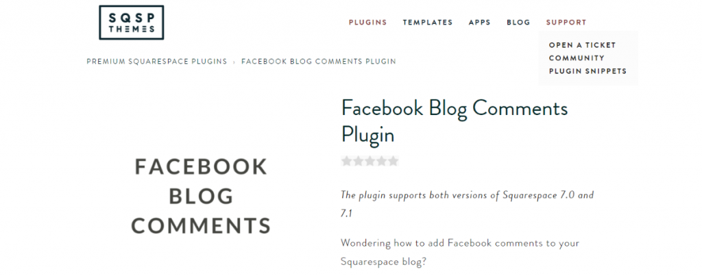 Facebook blog comments: Squarespace plugin