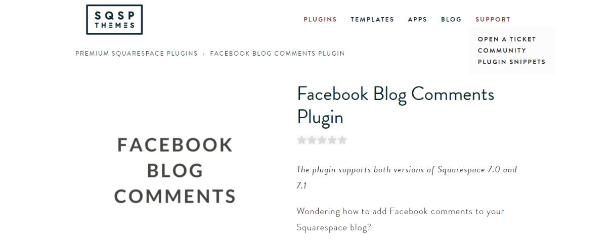 Facebook blog comments: Squarespace plugin