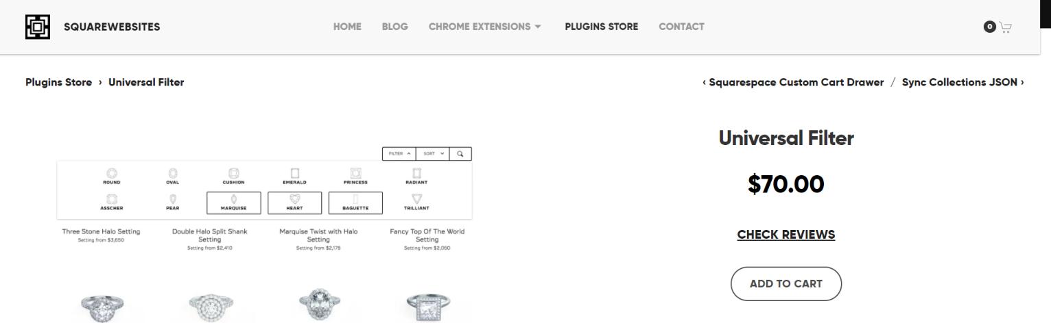 Universal filter plugin: Squarespace plugin