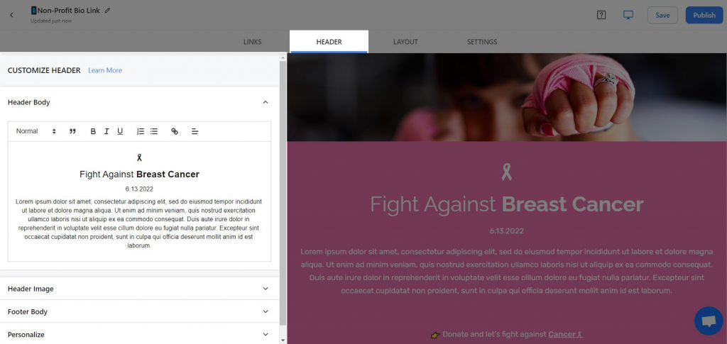 Preview of adding a header to non profit newsletter template