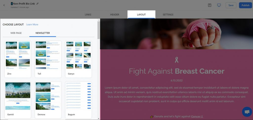 Preview of adding layouts to non profit newsletter