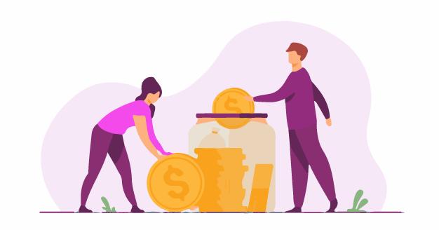 A family saving money