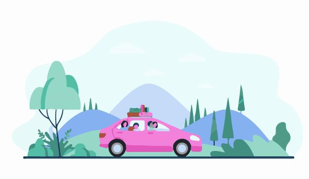 A family on a trip in their car